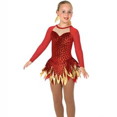 New girls figure skating dress from Jerrys Skatewear for 2017! Girls red shimmer velvet ice skating dress with a feathery triple layer flame cut skirt with a golden foil middle skirt and soft feathery mesh underskirt. Long mesh sleeves, a sparkly sweetheart neckline and a V-back with cross detail. If not in stock, please allow up to 2-3 weeks for manufacture and importing Check Size Chart