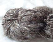 Handspun Yarn, Thick and Thin, Brown Merino Top, 400 yards