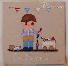 COCONIC: Cuadro infantil pintado a mano y personalizado para Guillermo con sus soldaditos de plomo y sus juguetes favoritos.