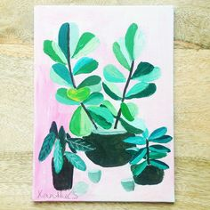 Plants on Pink No. 2 - an original acrylic painting, plants painted on a pink background door XantheCS op Etsy