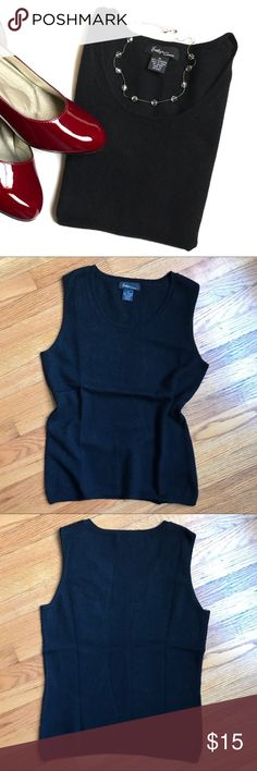 Evelyn Cashmere Sleeveless Sweater This thin knit, 100% sleeveless sweater is a perfect layering staple.  Gently pre-owned with no flaws found Size medium evelyn Sweaters Crew & Scoop Necks