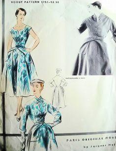 1950s  Rare JACQUES HEIM Unique Dress Jacket Pattern VOGUE PARIS ORIGINAL  MODEL 1255 High Couture Design Bust 34 Vintage Sewing Pattern