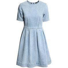 H&M Denim dress (€39) ❤ liked on Polyvore featuring dresses, h&m, light denim blue, knee length skater skirt, h&m dresses, flared skirt, blue knee length dress and knee length flared skirts