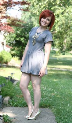 Thrift and Shout blog in Forever 21 dress and BCBG heels- all from Goodwill all for $10! see more on thriftandshout.blogspot.com