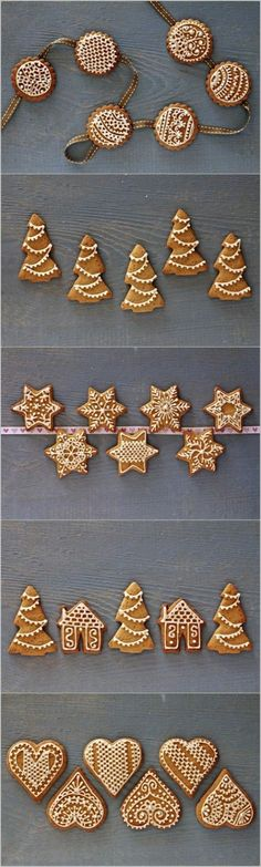 Biscoitos de Natal Decorados com pontinhos brancos - My Diverse Kitchen - Food & Photography From A Vegetarian Kitchen In India : Festive & Decorated Gingerbread Cookies Christmas Sweets, Christmas Gingerbread, Christmas Cooking, Noel Christmas, Christmas Goodies, Gingerbread Cookies, German Christmas, Gingerbread Houses, Simple Christmas