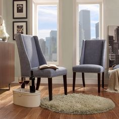 Harlow Wingback Linen Dining Chair with Nailheads - Blue (Set of 2)