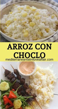 This Peruvian side dish called Arroz con Choclo (rice with Andean corn) is a delicious and easy recipe to make that the whole family will love. #peruvian, #choclo, #arrozconchoclo, #ricewithcorn, #gastronomialatina, #latinfood, #mediterraneanlatinloveaffair