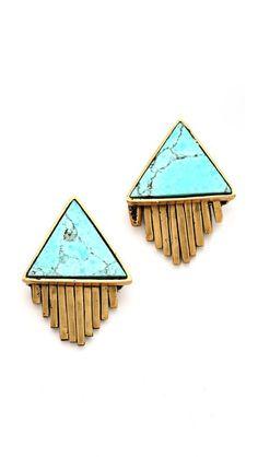 A Peace Treaty Iina Triangle Stone and Fringe Earrings jewel, fring earring, peac treati, accessori, peace, stud earrings, triangl stone, christmas gifts, gold earrings