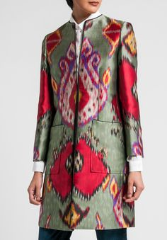 Ikat Print Jacket in Sage