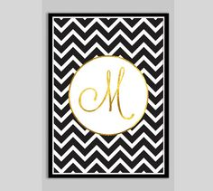 Black & Gold Custom Letter Print - Bedroom Decor, Typography, Gold print on Etsy, $18.84 CAD