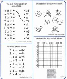 Cuaderno tablas de multiplicar (28) Multiplication Facts Worksheets, Printable Math Worksheets, School Worksheets, Worksheets For Kids, Touch Math, Third Grade Math, Homeschool Math, Math For Kids, School Fun