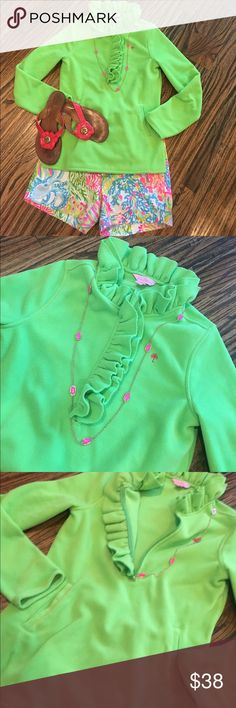 Lilly Pulitzer Summer Pullover XS Perfect for evening beach walks in the summer. Awesome fun bright green color. Jacket only...shorts in another listing Lilly Pulitzer Jackets & Coats