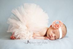 Sweet Peaches And Cream Tutu Newborn Tutu Custom Made With Matching Vintage Style Flower Headband Stunning Newborn Photo Prop