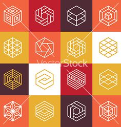 Linear hexagon logos and design elements vector icons - by venimo on VectorStock®