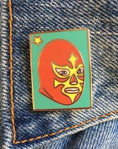 Luchador, Lucha Libre, catch masque, Loterie, cadeaux, bijoux, mexicain, émail mol Pin Art (PIN24)