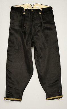 Black silk breeches with gold trim, probably British, ca. 1830.