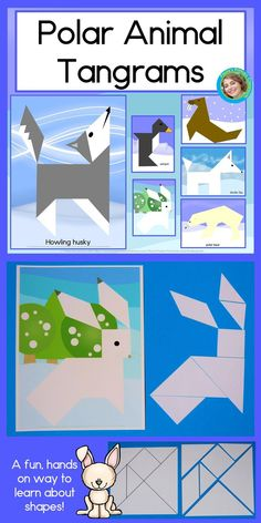 Your students will have a blast working with shapes with these Antarctic and Arctic Animal Tangrams! Perfect for children 3 - tangrams are made up of 7 shapes that can be endlessly rearranged to make pictures. This set includes a polar bear, pen Arctic Habitat, Artic Animals, Wild Animals, Baby Animals, Animal Art Projects, Animal Habitats, Ms Gs, Kindergarten Activities, Arctic Fox