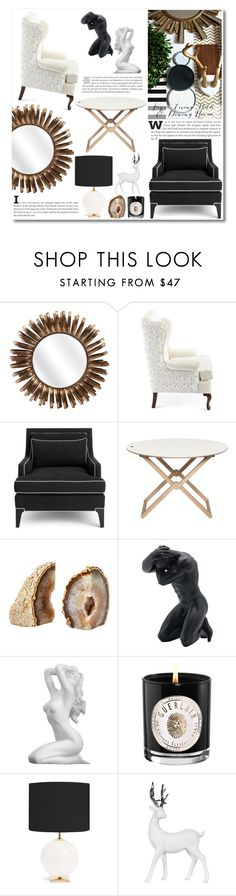 """Black & White"" by katrinaalice on Polyvore featuring interior, interiors, interior design, home, home decor, interior decorating, Haute House, Kate Spade, Guerlain and Lene Bjerre"