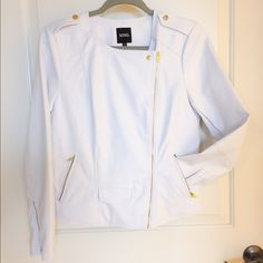 White XOXO jacket Brand new, never worn XOXO white leather jacket. Has gold zipper detail on both sleeves, gold full frontal zipper, and gold zipper pockets on both sides. Don't let this one pass you by!! XOXO Jackets & Coats