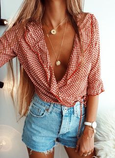 #fall #outfits women's white and red plunging neckline 3/4 sleeved blouse