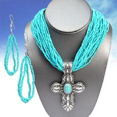 $14.99! Cowgirl Bling CROSS Turquoise Southwest Gypsy Boho Silver tone  Necklace set #nena
