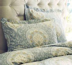 Pottery Barn Ravenna Organic Duvet Cover & Sham - Blue for Sale