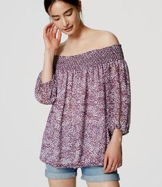 Thumbnail Image of Color Swatch 8404 Image of Floral Off the Shoulder Blouse