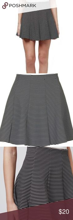 bbb0c6db7f Women's Black Petite Stripe Flippy Skirt Thin white and black striped skirt.  High waisted stretchy