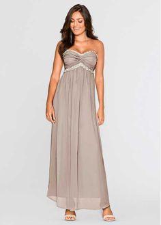 Jetzt anschauen: Dieses traumhafte Abendkleid von BODYFLIRT begeistert mit einem wunderschönen Fall. Das Maxi-Kleid hat einen Bandeau-Ausschnitt mit abnehmbaren Trägern, der mit feinen Raffungen auffällt. Perleneinsätze rahmen ihn ein. Der untere Teil des Modells umspielt sanft die Figur.  Mit farblich abgestimmten Sandalen, zartem Perlenschmuck und einer kleinen Clutch runden Sie dieses Maxi-Kleid auf zauberhafte Weise ab.