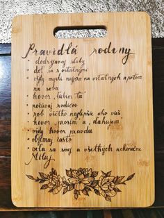 Family Rules, Pyrography, Bamboo Cutting Board, Diy, Bricolage, Diys, Handyman Projects, Do It Yourself, Crafting