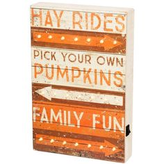 Primitives by Kathy 'Family Fun' LED Lighted Sign ($39) ❤ liked on Polyvore featuring home, home decor, wall art, tan multi, distressed home decor, weathered signs, primitives by kathy, lighted home decor and autumn home decor