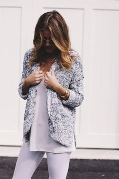 speckled open cardigan