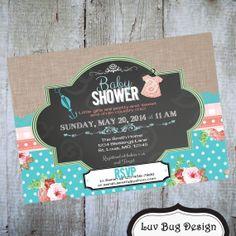 SHABBY CHIC Baby Shower Printable Invite Printable by luvbugdesign, $14.00