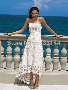 2014 Sexy Fashion Summer Wedding Dress Vintage High Low A-Line Strapless Ivory Lace Backless Beach Cheap Wedding Dresses