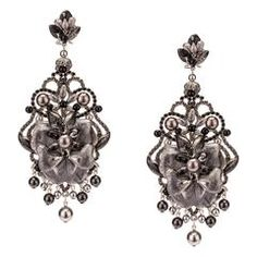 Dazzling Swarovski and Enamel Flower Pendant Earrings by DUBLOS