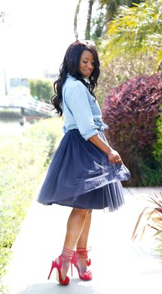 Featuring a super easy way to style your tulle for summer ft. this chic skirt from @shetraveled: just add a knotted chambray shirt and fringed sandals! // More #modestfashion inspo and tips on DowntownDemure.com