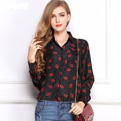 CD29 White Black Long Sleeve Women's Blouses&Shirts Kiss Red Lip Print Casual Tops Loose Plus Size Lady Button Leopard Blusas