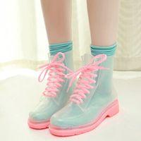 Korea transparent crystal jelly rubber boots - Thumbnail 4