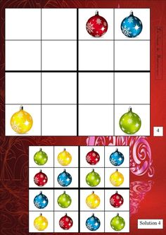 sudoku 4 Sudoku Puzzles, Printable Puzzles, Printables, Boggle, Theme Noel, Fun Cup, Nouvel An, Noel Christmas, Worksheets For Kids
