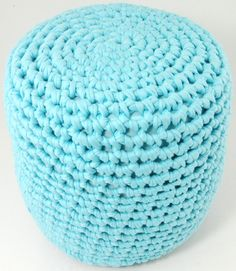 Crochet stool made with Zpagetti, LVLY. (Free Pattern.)