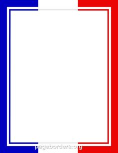 Printable French flag border. Use the border in Microsoft Word or other programs for creating flyers, invitations, and other printables. Free GIF, JPG, PDF, and PNG downloads at http://pageborders.org/download/french-flag-border/
