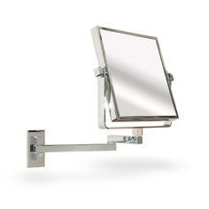 Pics On A contemporary chrome bathroom mirror wall mounted and extendable to True image and x magnification