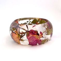 Red and Cream Roses in a Chunky Resin Bangle.  Pressed Roses Bangle Bracelet.  Real Flowers - Pressed Rosebuds.  Handmade Resin Jewelry