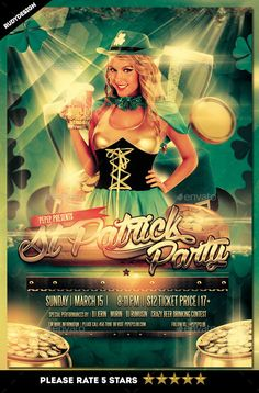 Saint Patrick Day Party Flyer Template PSD. Download here: http://graphicriver.net/item/saint-patrick-day-party-flyer/15187685?ref=ksioks