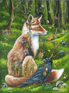 Fox and raven power animal totems. Isaac Zosimus -Janie Olsen