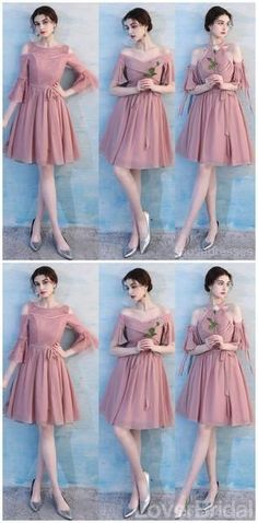 4737785933ee Dusty Pink Chiffon Mismatched Simple Short Bridesmaid Dresses Online, –  LoverBridal #bridesmaid #wedding