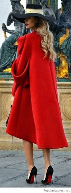 Long lady red coat style