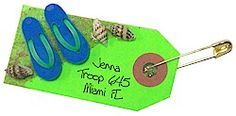 These SWAPs can be used for any warm, beachy state or for a country like Fiji, Costa Rica or Jamaica at your World Thinking Day or International celebration. They can also be used to remind Girl Scouts of your trip to the beach whether it is for fun or to study marine life that abounds in that environment. Directions available at MakingFriends.com