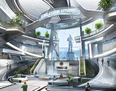 ArtStation - Star citizen - Terra s atrium, Nicolas Ferrand - This concept brings to mind Alex's corporate HQ. Spaceship Interior, Futuristic Interior, Futuristic City, Futuristic Design, Futuristic Architecture, Minimalist Architecture, Star Citizen, Illustrations Pop, Sci Fi Stadt