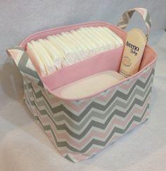 "Diaper Caddy 10""x10""x7"" Fabric Storage Organizer, Fabric Bin, Chevron Zig Zag Grey Pink. $34.00, via Etsy."
